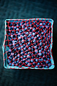 Fresh blueberries in a cardboard cup with a net