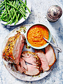 Roast Lamb with Romesco Sauce and Garlic fine Beans