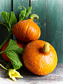 Three orange pumpkins with flowers