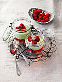 Avocado and raspberry mousse in jars