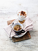 Apple and mascarpone cream with iced coffee
