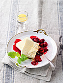 Eggnog parfait with berry sauce
