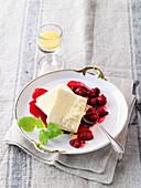 Eggnog parfait with berry sauce