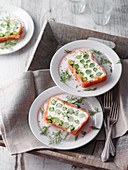 Asparagus and salmon terrine with cream cheese
