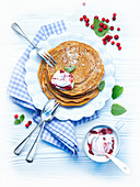 Buckwheat pancakes with cranberry quark