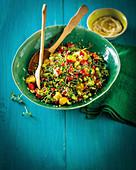 Microgreen tabouli with hummus pitas