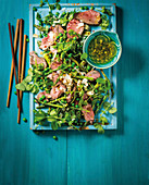 Asian asparagus and beef salad