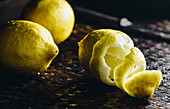 Fresh lemons, partly peeled