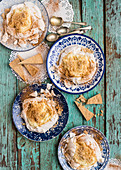Milk tart pavlovas with cinnamon shortbread
