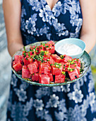 Watermelon cubes with chilli gremolata