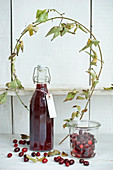 Cornelian cherry juice in a bottle, cornelian cherries in storage jar, and a cornel cherry branch