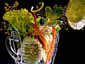 Salad with oil drops (Artistic)
