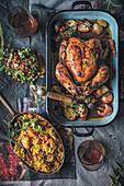 Masala roast chicken with pilaf