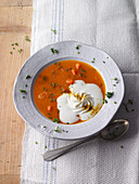 Carrot and ginger soup with mozzarella foam