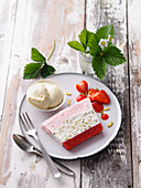 Strawberry yoghurt terrine with honey ice cream