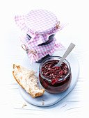 Sour cherry and vanilla jam in a glass jar