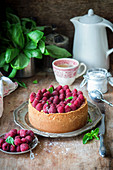 Raspberry cheesecake with basil