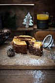 Vegan almond and chocolate cake with baked pomelo (Christmas)