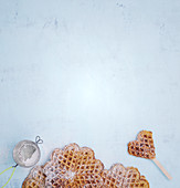Sweet potato waffles with honey and icing sugar