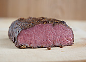 Medium-rare roasted meat (close-up)
