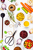 Colorful food ingredients on white background. Bio Healthy food herbs and spices for health cooking
