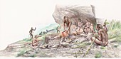 Homo erectus cooking meat, illustration