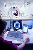 Radiographer viewing a CT scan