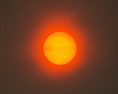 Red Sun caused by atmospheric dust