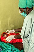 Baby born by caesarean section