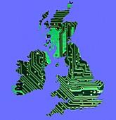 Circuit board British Isles, conceptual illustration