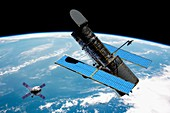 Spacecraft approaching Hubble Space Telescope, illustration