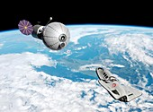 Cruise shuttle near space habitat, illustration