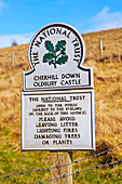 Cherhill Down Oldbury castle, National Trust sign, North Wes