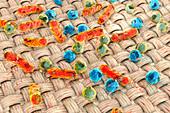 Destruction of bacteria on dirty cloth, illustration
