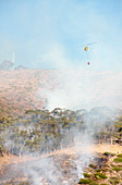 Helicopter dropping water on wild fire