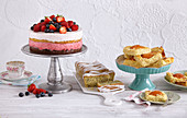 Fruity layer cake, lemon chia cake and apricot slices
