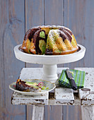 Bundt cake with cocoa and matcha