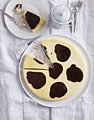 Cow-patch cake with vanilla and chocolate
