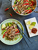 Colourful stir-fried vegetables with rump steak strips