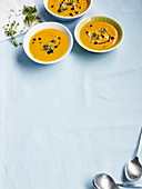 Cream of pumpkin soup with fresh cress
