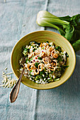 Bok choy risotto with fried squid