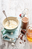 Marshmallow cream and whiskey caramel sauce