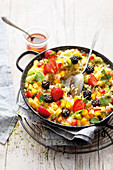 Sweet paella with grilled fruit
