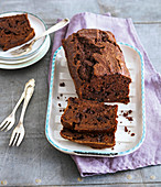 Chocolate and banana cake with yoghurt