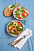 Cucumber and watermelon salad, and oriental chickpea salad