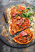 BBQ pizza with grilled flat iron steak
