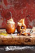 Stuffed grilled pears with hazelnut meringue