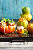 Stuffed primeval tomatoes with a grilled tomato and pineapple chutney