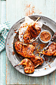 Grilled turnip fritters with a BBQ rub