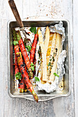 Green and white grilled asparagus